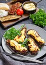 Greek papoutsakia with bechamel sauce on top Royalty Free Stock Photo