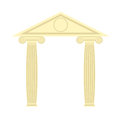 Greek Portico. Greek temple. Two column and roof. Vector illustr Royalty Free Stock Photo