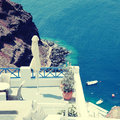 Greek resort terrace and Aegean sea in Oia, Santorini island, Gr Royalty Free Stock Photo