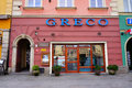 Greek restaurant with the name greco at the old square of wrocalw poland Stock Photo