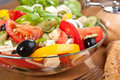 Greek salad bowl Royalty Free Stock Photography