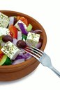 Greek Salad in a Clay Bowl Royalty Free Stock Photo