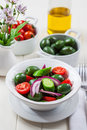 Greek salad with fresh green olives delicious Stock Image