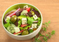 Greek Salad with Fresh Oregano Stock Photo
