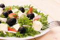 Greek salad gigantic black olives sheeps cheese close up Royalty Free Stock Image