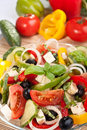 Greek salad with ingredients Royalty Free Stock Photo