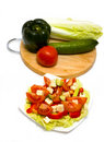 Greek Salad and ingredients Stock Photo
