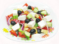 Greek salad with pasta Stock Image