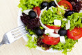 Greek salad on plate Stock Photo