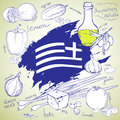 Greek salad recipe the national cuisine a set of hand drawn vector elements Stock Photo