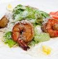 Greek salad shrimp 免版税库存图片