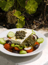 Greek salad in sunlight Santorini Stock Photography