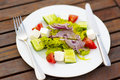 Greek salad on white plate Stock Photos