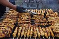 Greek souvlaki.Tasty traditional food from meat of chicken cooking on big barbecue.