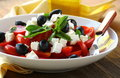 Greek style salad with feta cheese Royalty Free Stock Photos