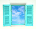 Greek Style windows with blue sky Royalty Free Stock Photography