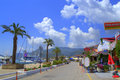 Greek summer resort promenade Royalty Free Stock Photo