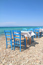 Greek tavern by the sea typical cafe aegean Stock Images