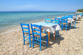 Greek tavern by the sea typical cafe aegean Royalty Free Stock Images