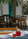 Greek taverna setting Royalty Free Stock Photo