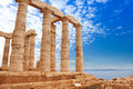 Greek Temple of Poseidon on cape Sounion, Athens Royalty Free Stock Photo