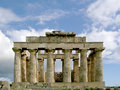 Greek temple in selinunte the image shows the of hera sicily Stock Photos