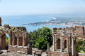 Greek theater Taormina city with a panorama at Siciliy Royalty Free Stock Photo