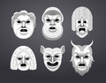 Greek theatre mask set Royalty Free Stock Photo