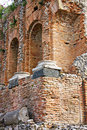 Greek theatre of Taormina: detail Stock Photos