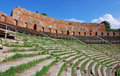 Greek theatre of Taormina (Sicily) Stock Photos