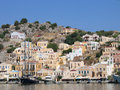 Greek town harbor Stock Images