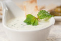 Greek Tzatziki yogurt dip and pita bread Stock Images