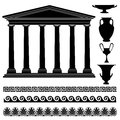 Greek vase silhouette,seamless ornament, temple collection. Travel Greece icon set