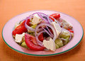 Greek vegitarian salad with cheese feta Stock Photography