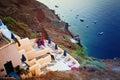 Greek Villa in Oia Town and Sea, Santorini, Greece Royalty Free Stock Photo