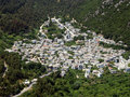 Greek village aerial. Stock Photos