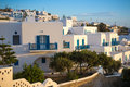 Greek white houses in sunset at Mykonos town, Mykonos, Greece