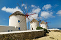 Greek windmills old in mykonos greece now a tourist attraction Royalty Free Stock Photography