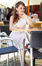 Greek woman in the cafe Royalty Free Stock Photo