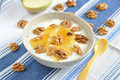 Greek yogurt with honey and walnuts Stock Photo