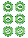 Green 100% organic natural eco retro labels Royalty Free Stock Photo