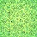 Green abstract doodle flowers seamless pattern this is file of eps format Stock Images