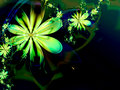 Green Abstract Flower Fractal Dark Background Royalty Free Stock Photo