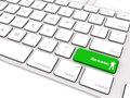 Green access button open on keyboard Stock Image