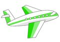 Green air travel airplane illustration aircraft for graphic designers and website Stock Image
