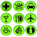 Green Airport service buttons Stock Images