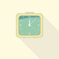 Green alarm clock icon with long shadow.flat design.vector illustration.
