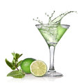 Green alcohol cocktail with splash lime and mint isolated on white Stock Images