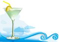 Green alcohol cocktail with waves clouds mesh used Stock Image