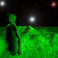Green alien haunting